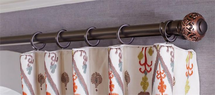 Devon Knob Custom Metal Drapery Curtain Rod : Hardware sold as a Set : Two Tone Finishes! Decorative relief design finial for the perfect finish to your window treatments  : Contact for a quote