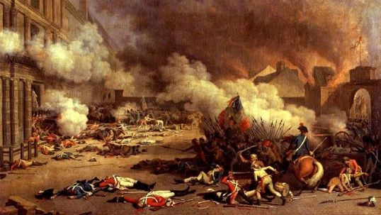 August 10, 1792: Louis XVI of France is arrested and taken into custody as his Swiss Guards are massacred by a Parisian mob when they storm the Tuileries Palace during the French Revolution.