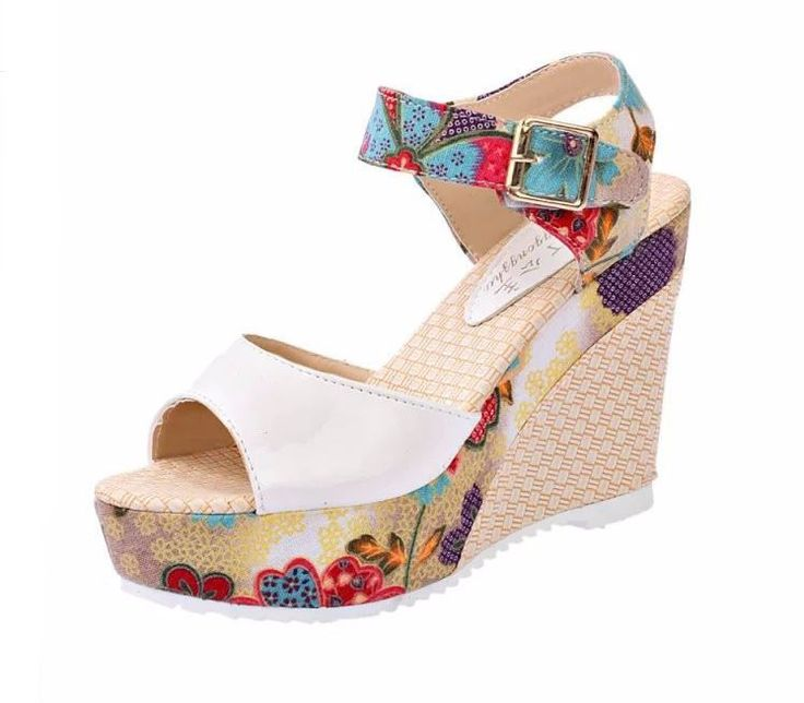 Floral Print Ankle Strap Women Summer Wedge Sandals
