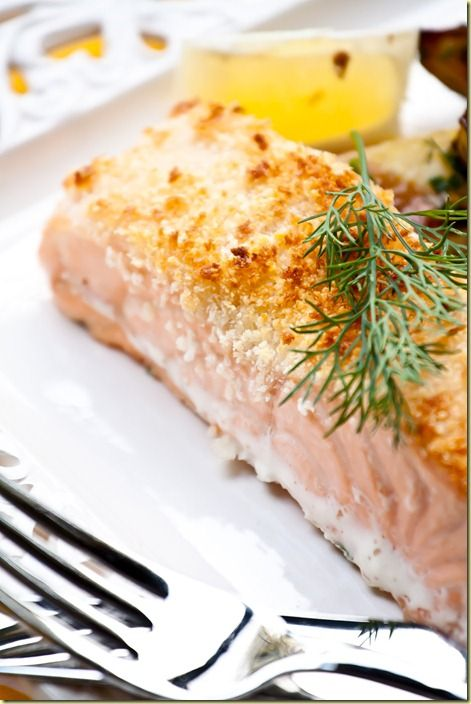 Parmesan Crusted Salmon thats crisp on the inside and juicy on the inside - by Let the Baking Begin Blog.
