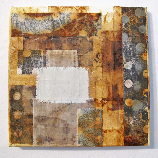 Jennifer Coyne- with tea bags, rusted and monoprinted cotton on canvas.