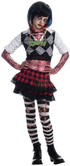 if your girl is looking for a halloween costume with real attitude then check out this funky punk rocker girl zombie costume from our halloween range
