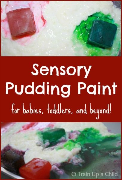 Sensory Pudding Paint for Babies and Toddlers - Safe for young ones who still mouth everything, and fun for all ages!  Encourages creativity while stimulating the senses.