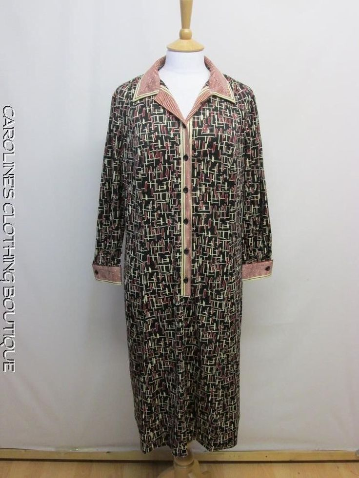 vintage 1970 S SIZE 22 HORROCKSES FASHIONS ABSTRACT PATTERN SMART DRESS X21