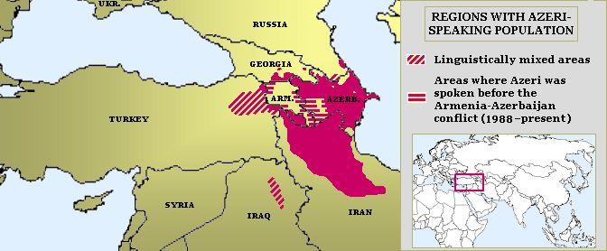 Distribution of the Azerbaijani language