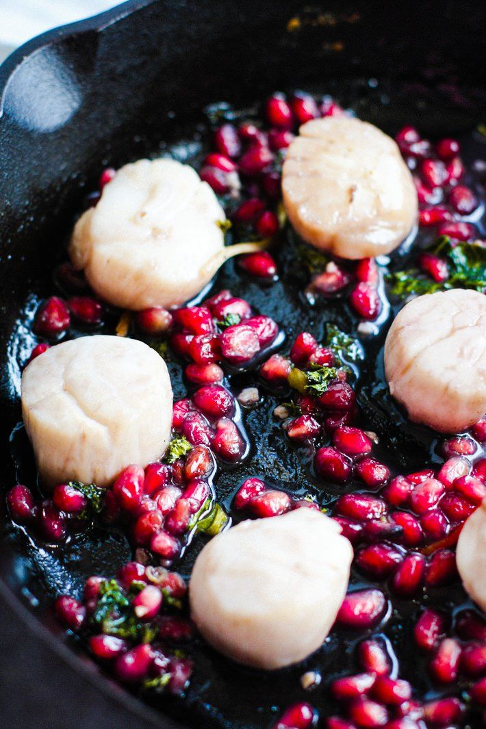 Fake your way FANCY with this EASY Maple Balsamic-Glazed Scallop Recipe with Pomegranates! All you need is one pan and 10 minutes. A Healthy Maple Balsamic-Glazed Scallops recipe so perfect for a date night in or to impress guests. Heck, just hog them for yourself! They are that good and simple! Paleo friendly of course.