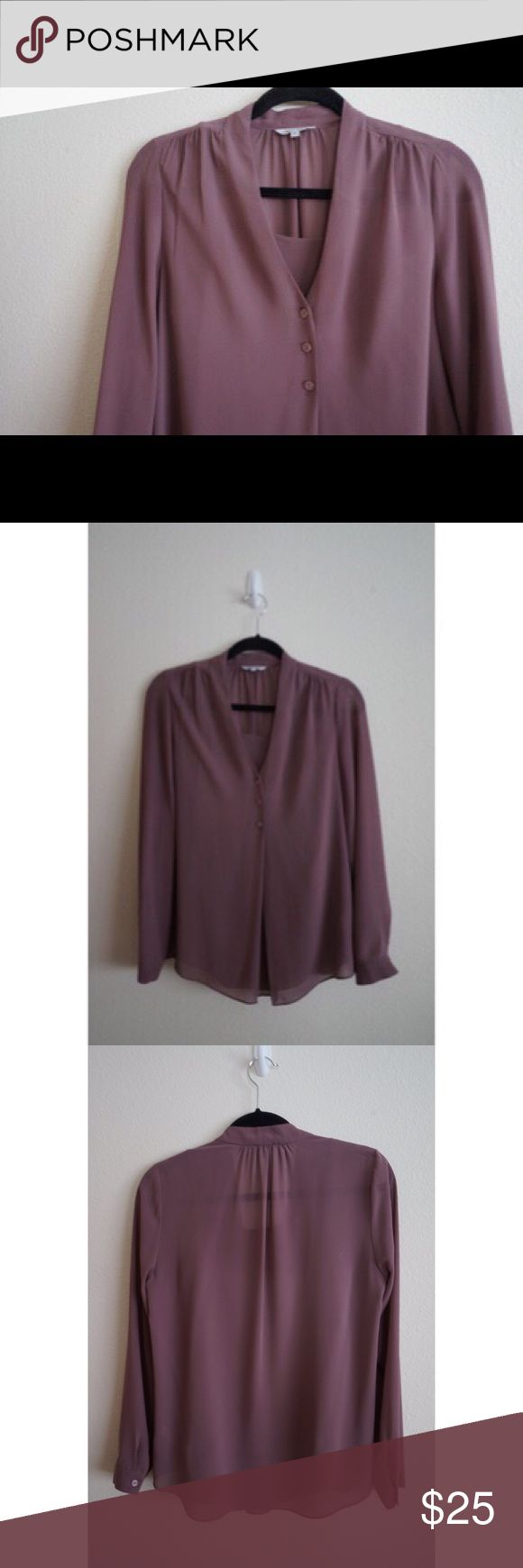 Naked Zebra Women's Long-Sleeve V-Neck Blouse Women's long sleeve polyester purple blouse with an inner camisole layer already connected to the blouse! 3 button detail and flows out at the bottom. Excellent condition! Size Medium Naked Zebra Tops Blouses