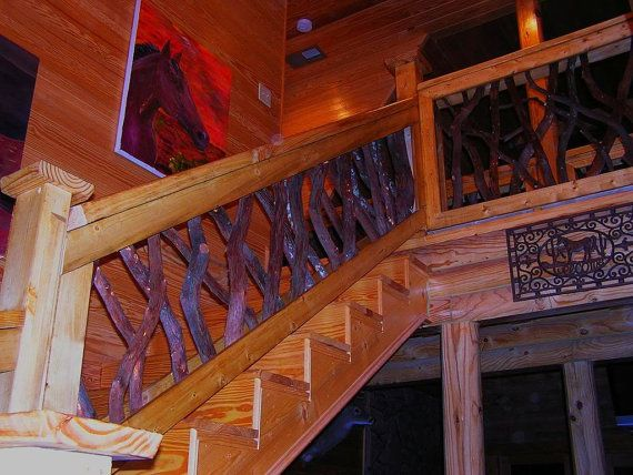 Rustic Rails Railing Porch Stair Decor Log Cabin Cottage