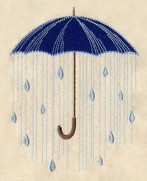 Under the Rain Umbrella Embroidered Flour Sack Hand/Dish Towel