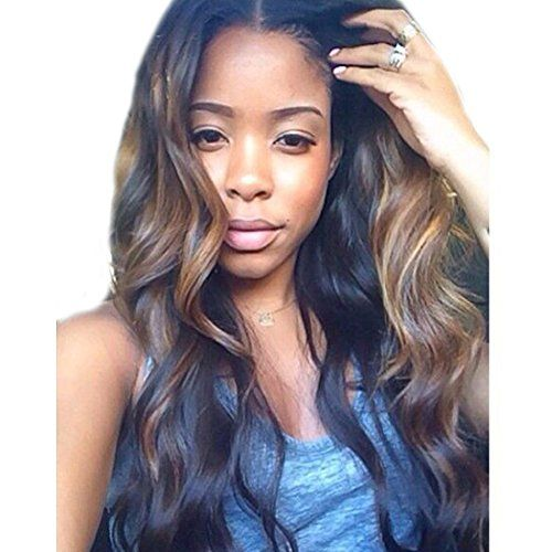 Fashion Ombre Human Hair Wigs Zana Body Wave Brazilian Virgin Glueless Lace Front Wigs for Women