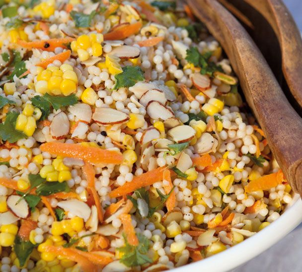 Corn and Israeli Couscous salad:   2 cups israeli couscous 4 cobs sweetcorn 1 carrot, coarsely grated ½ cup sliced almonds, toasted 2 tbsp coriander leaves 3 tbsp neutral oil ...