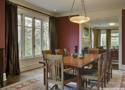 A very berry tale of red: Wall Colors, Traditional Dining Rooms, Parks Resident, Red Wall, Colors Design, Colors Schemes, Washington Parks, Brown Curtains, Knowles Ps
