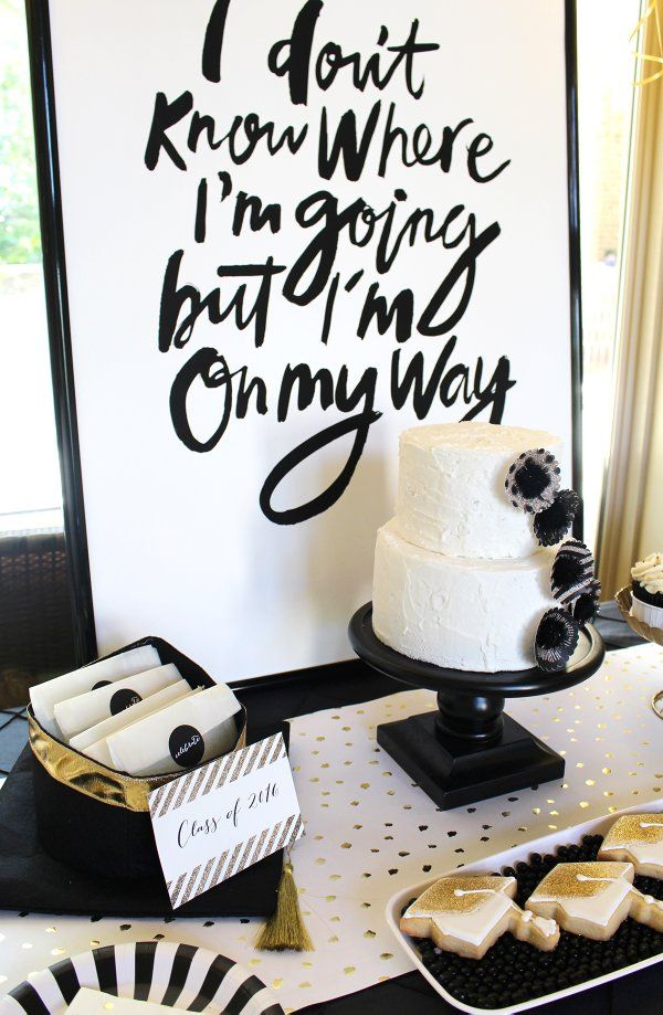 Stylish Black White Gold Graduation Party Sayingsgraduation Ideas College8th