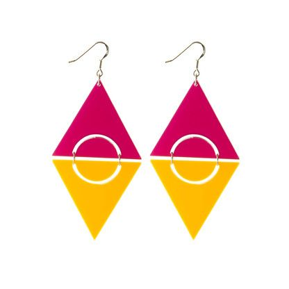 Tropical Sunrise pop art color block sterling silver earrings