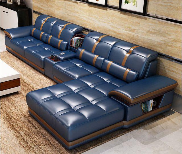 Living Room Sofa Set Furniture Real Genuine Cow Leather Sofas