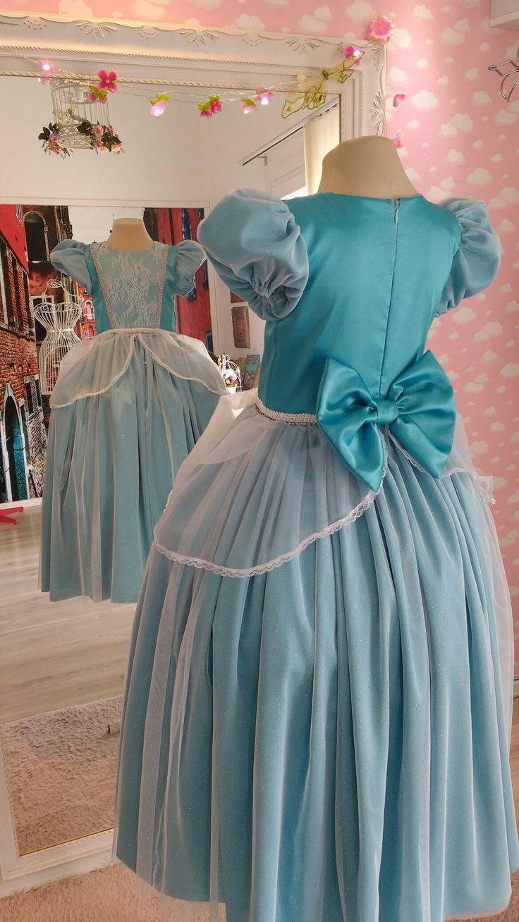 Vestido infantil princesa Cinderela Por Ateliê Mirian Rosa