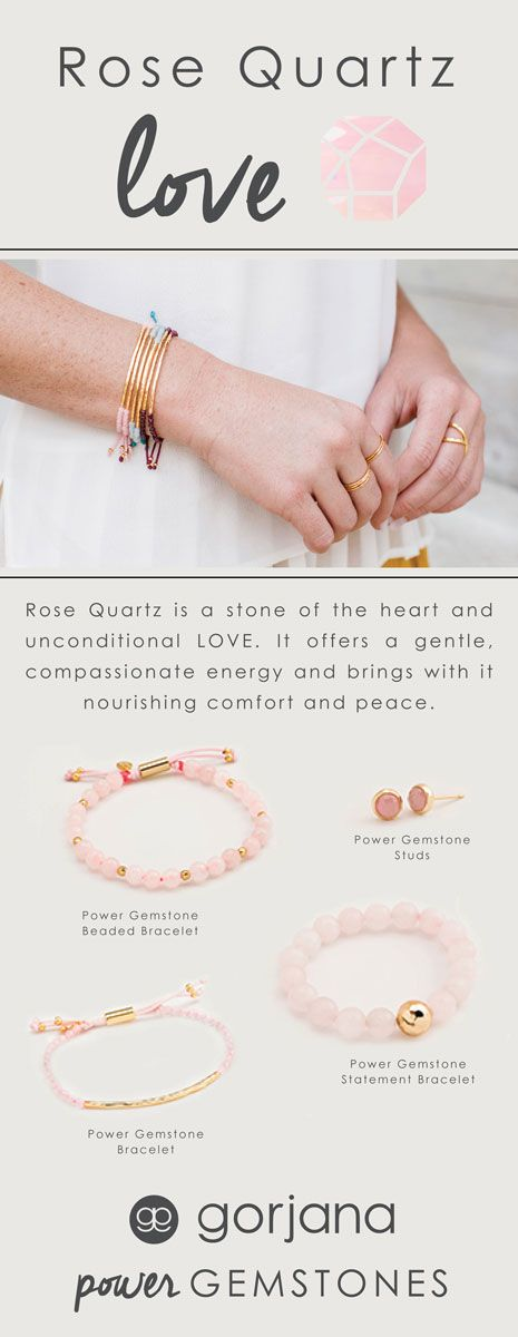 Rose Quartz is used to purify the heart, this sensitive stone removes negative energy. Pure and uplifting, Rose Quartz can be used to bring you happy harmony and unconditional love. Genuine gemstone and golden hammered bar accent this stackable adjustable bracelet. Discover all gorjana Power Gemstone Rose Quartz for Love Styles.