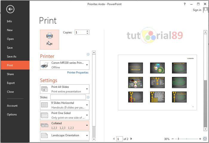 Cara Mudah print slideshow presentasi PowerPoint