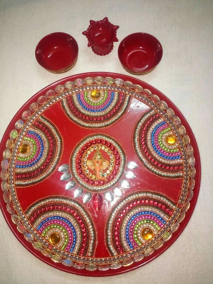 356 best pooja thali images on pinterest for Aarti thali decoration