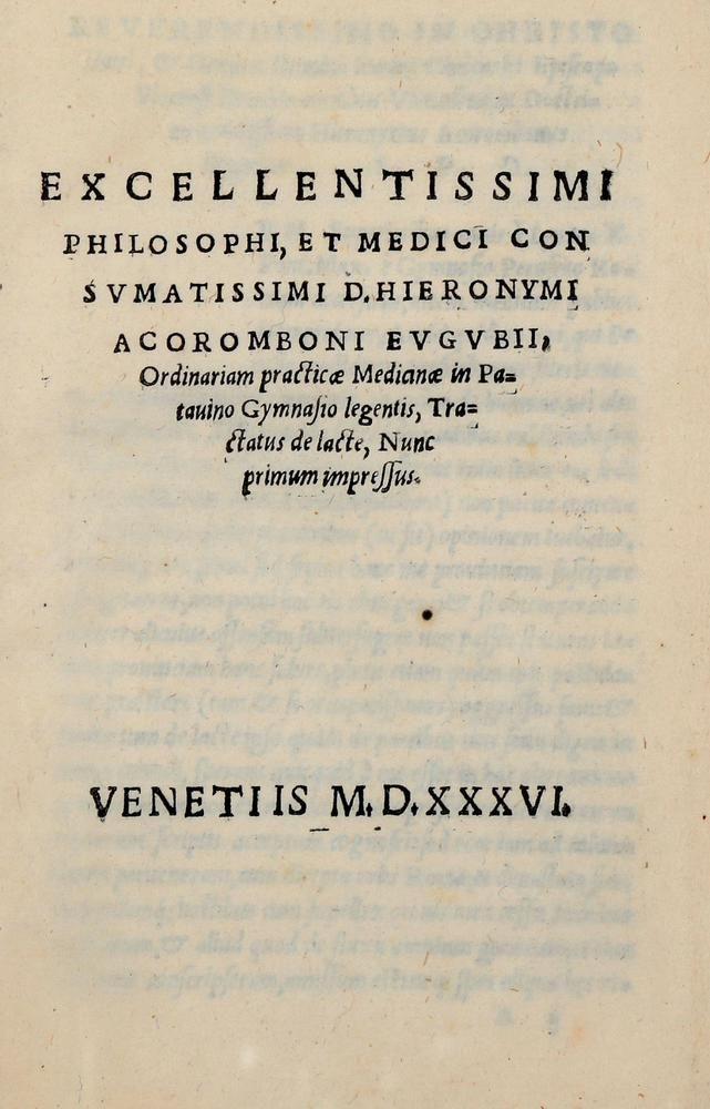 Tractatus de lacte nunc primum impressus