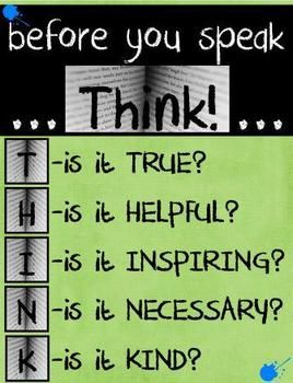 FREE!  Great classroom sign...makes students think!  http://www.teacherspayteachers.com/Store/Kim-Miller-24