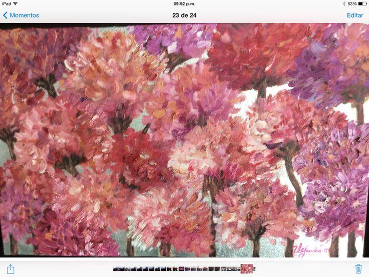 16- Hortensias. Sobre tela y hoja de plata. 2013 febrero.medida.. .65 cm. X .40 cm.
