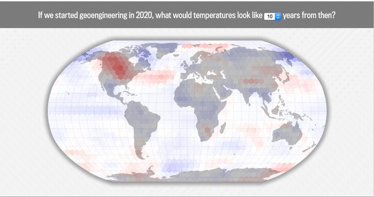 "Si on commencerait aujourd'hui à utiliser la technologie pour combattre le changement climatique, peut-on faire des previsions à 50 ans sur la temperature mondiale ? Une simulation interactive. Via Slate et @visualoop  Una simulazione delle previsioni a 50 anni sul riscaldamento globale, basata sull'utilizzo del ""Geoengineering"" - uso delle tecnologie per combattere il cambiamento climatico. Via Slate e @visualoop  What Would Geoengineering Do to the Global Climate? An Interactive…"