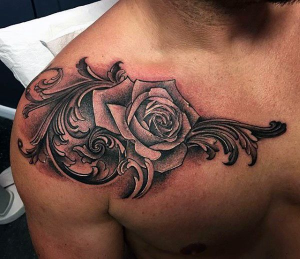Rose Flower With Filigree Detail Mens Shoulder Tattoo Ideas
