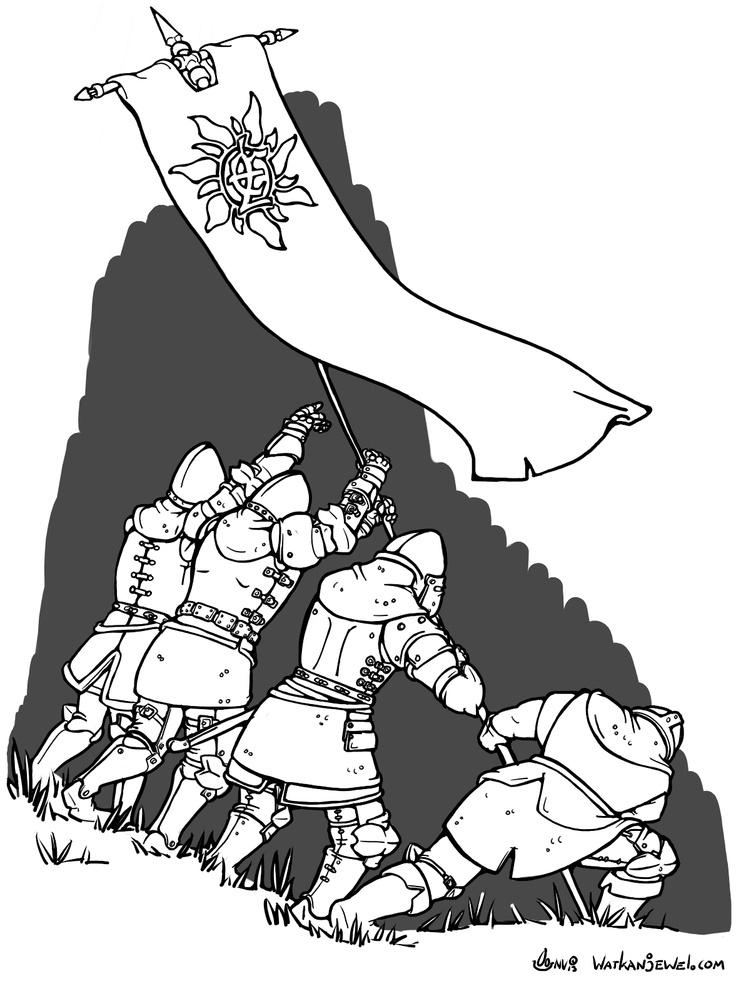 Knights planting flag, banner.  watkanjewel.com