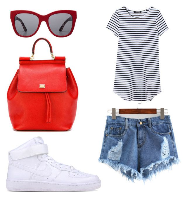 """""""Red glasses"""" by aleksaaryal on Polyvore featuring Dolce&Gabbana and NIKE"""