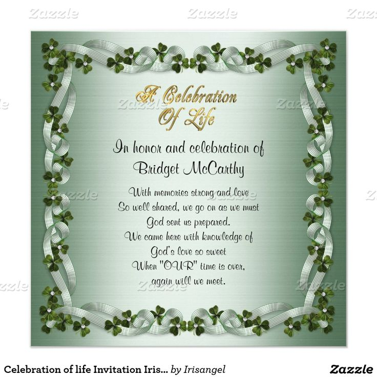 100 best Celebration of life Invitations images on Pinterest - funeral invitation templates
