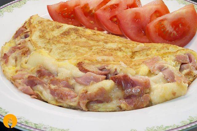 Omelette de Jamón y Queso - Recetas de Cocina Casera - Recetas fáciles y sencillas