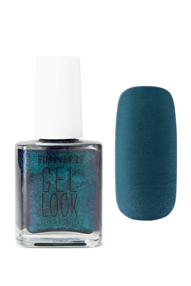 A gel look nail polish in a dark green shade.
