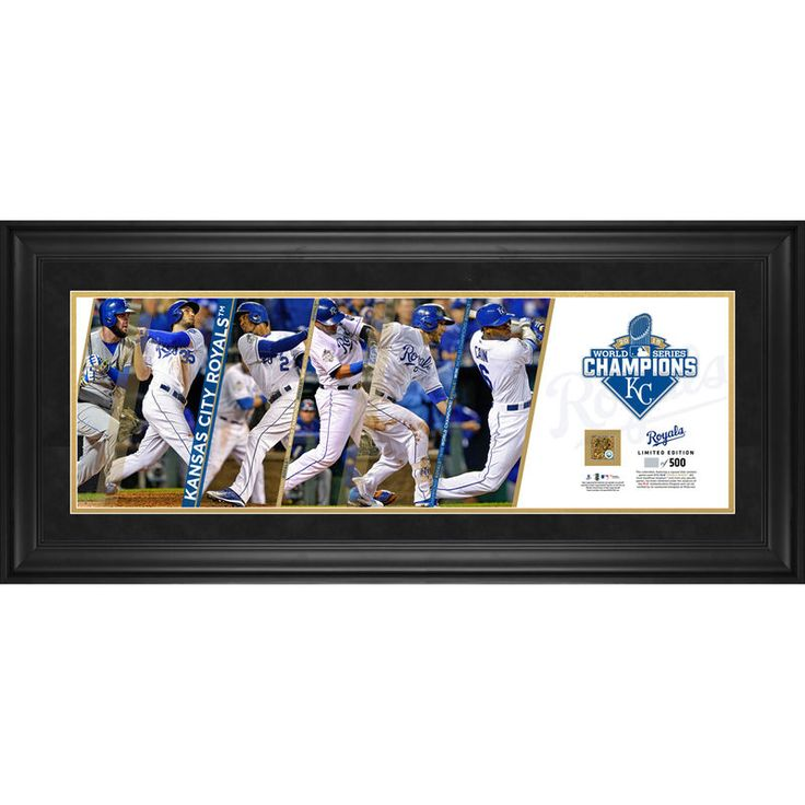 """Kansas City Royals Fanatics Authentic 2015 MLB World Series Champions Framed 10"""" x 30"""" Pano with a Piece of Game-Used World Series Dirt"""