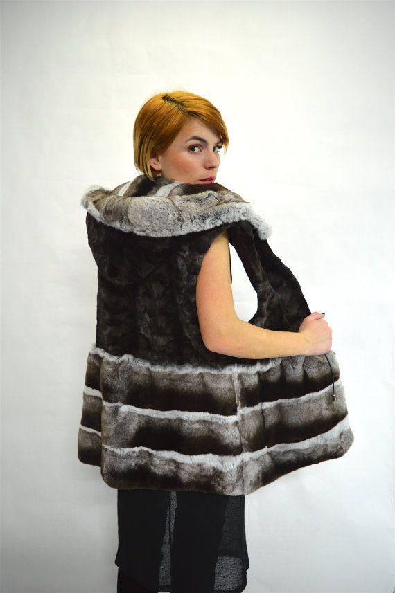 Real mink fur vest sheared mink fur vest with rex rabbit by BeFur