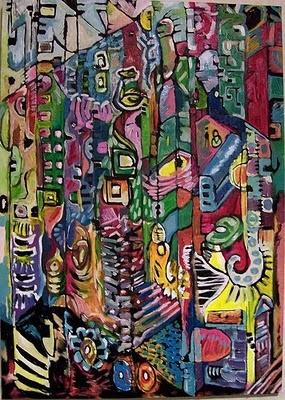 Artist: Aima Peintar of Rome - een druk, vrolijk schilderij, over-all en heel leuk. je herkent er stukjes Rome in, die heel leuk zijn om terug te zien. het is moeilijk om er één geheel in te zien en je ziet overal iets anders, om er uren naar te blijven kijken. heel mooi.