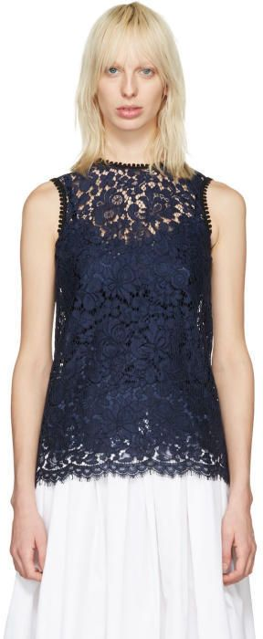 Dolce & Gabbana Navy Lace Tank Top