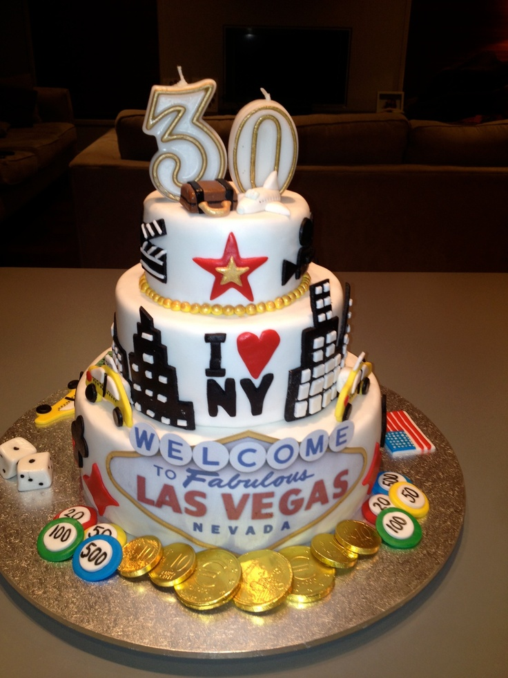 Surprise 30th birthday cake accompanied by tickets to America! - Front