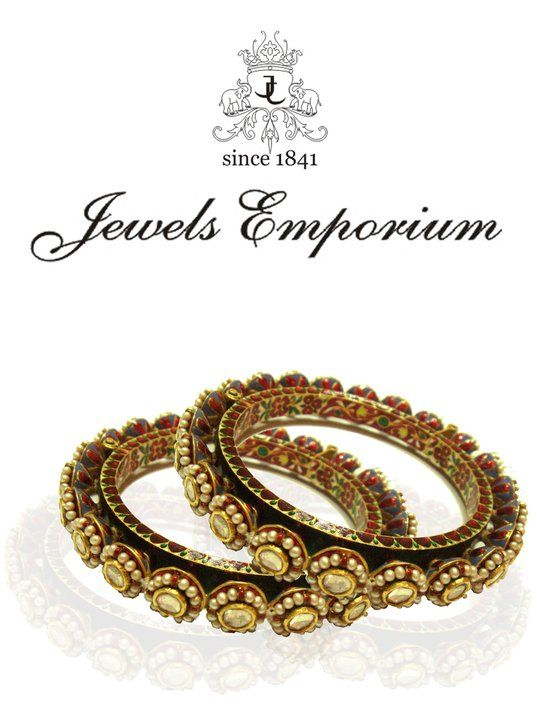 Rajasthani Style Bangles or Bangri in Polki and Meenakari with Pearl Embellishment by Jewels Emporium