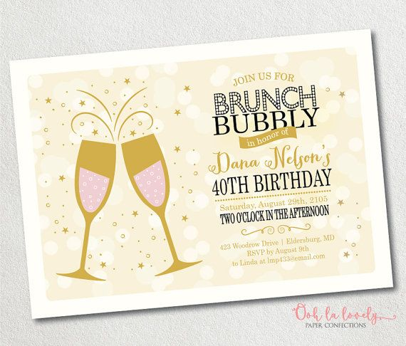 Brunch and Bubbly Invitation Champagne Brunch by Oohlalovely