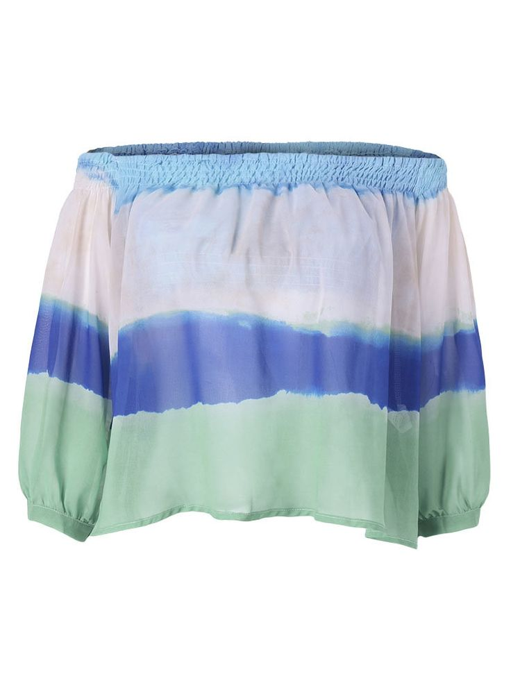 Description:  Material:Chiffon Style:Fashion Collar:Slash Neck Sleeve Length:3/4 Sleeve Season:Summer   Package included:  1*T-Shirts