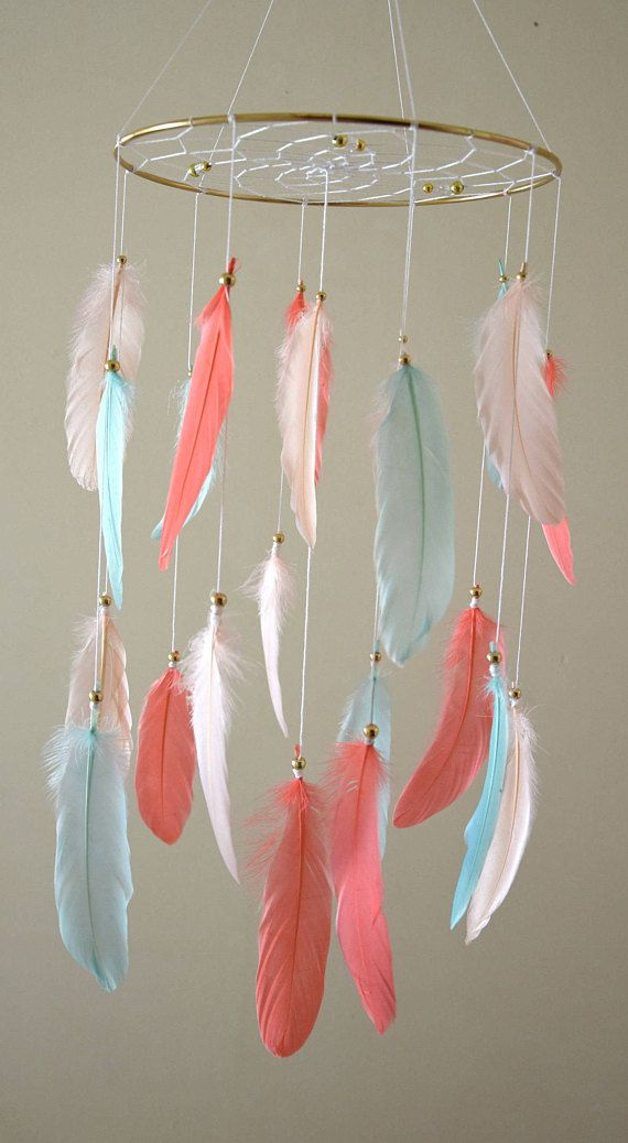 Dream Catcher Baby Mobile Baby Girl Mobile Coral Mint Blush
