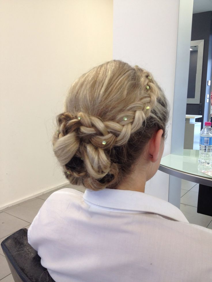 Blonde and brunette braided Grecian updo