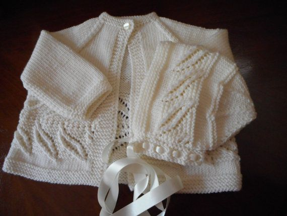White Matinee Jacket / Sweater and Bonnet Hand by LuxuryHandKnits