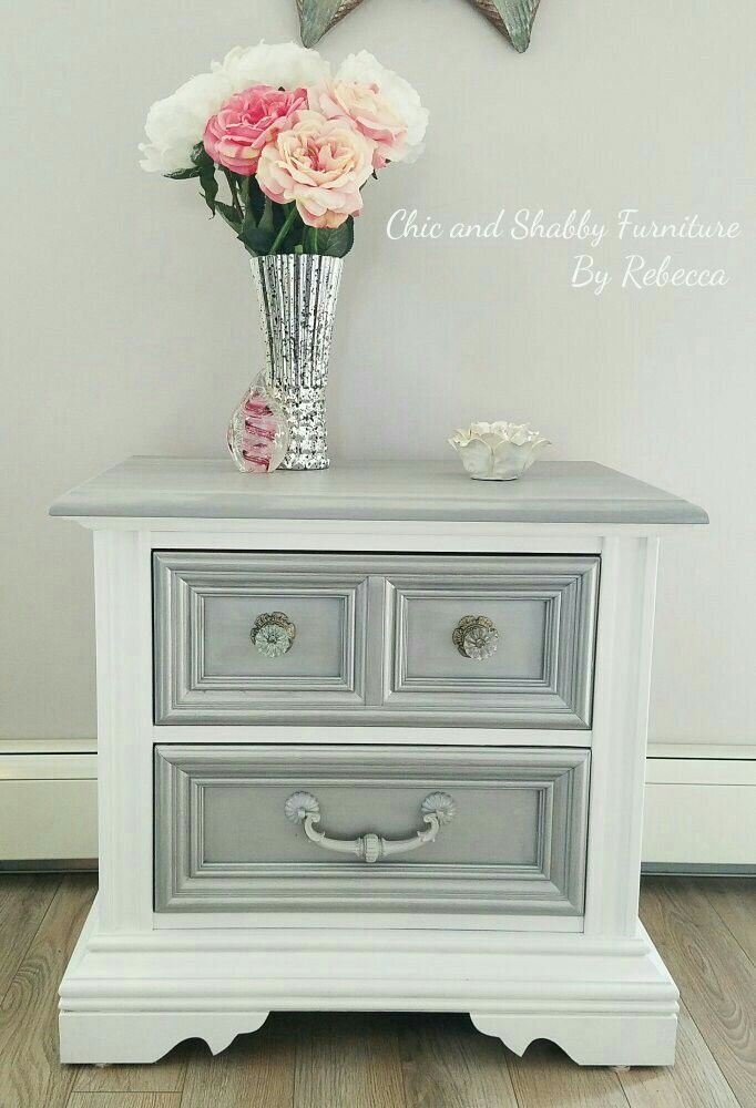 This Stanley Furniture end table before and after. I love the before and after on this one. I really wanted to glam and modernize the already nice lines of this one. Done in white, silver drawers, then mixed chalk grays and silver for the top. Switched out the top 2 knobs with these crystal glass ones, the bottom knob was awesome just sprayed it up. Lovely! :)