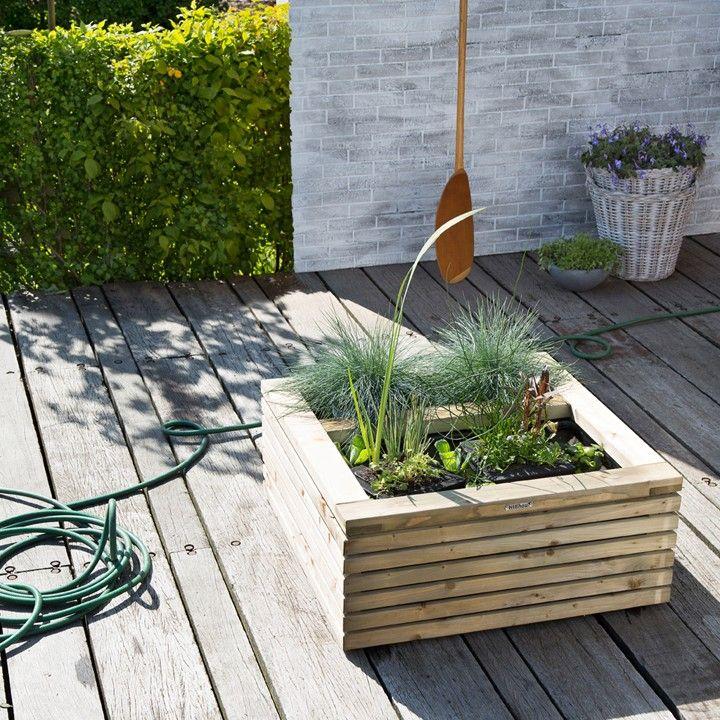 met deze terrasvijver heb je een decoratieve plantenbak en vijver ineen in je tuin intratuin