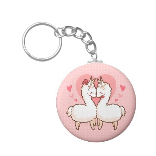 A super cute love llama keychain with pink hearts in the background. This could make a perfect, inexpensive but sweet Valentine's Day gift!