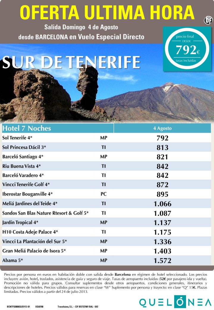 Sur de Tenerife desde 792€ Tax incl. Oferta Ultima Hora-7 Noches desde BCN - http://zocotours.com/sur-de-tenerife-desde-792e-tax-incl-oferta-ultima-hora-7-noches-desde-bcn/