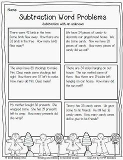 Christmas Subtraction Word Problems with Unknown for second grade---Free math printable for second grade