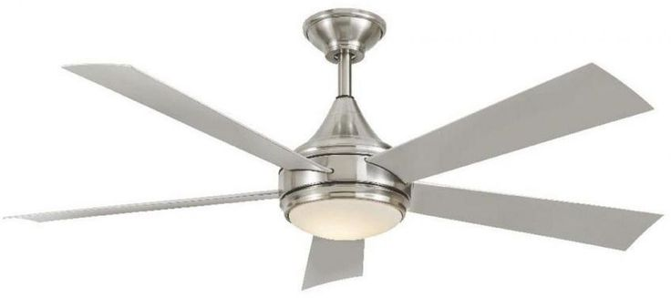 52 In. LED Light Ceiling Fan Indoor Outdoor Stainless Steel Brushed Nickel New